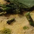 ヒルドルブに撃破されたザクIIのアップ